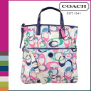 Coach COACH tote bag 2-Way multicolor ikat printed fold-over ladies