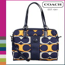 Coach COACH Boston bag 2-Way Navy multi signature striped liner satchel ladies