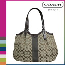 Coach COACH Lady's tote bag F28503 khaki X mahogany signature stripe 12CM デヴィン [6/30 Shinnyu load] [regular outlet]