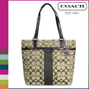 Coach COACH tote bag [F28504] khaki X mahogany signature stripe 12CM signature Lady's [regular outlet ][2/26 Shinnyu load]★★
