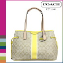 Point five times coach COACH Womens Tote Bag F29064 light khaki × yellow signature stripe PVC DrawString carryall [7 / 14 new stock] regular outlet