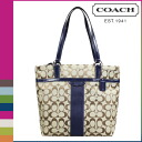Point 2 x coach COACH Womens Tote Bag F28504 khaki x Navy signature stripe 12 CM signature [8 / 26 new stock] regular outlet