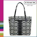 Coach COACH Womens Tote Bag F32101 black x white signature stripe 12 CM large tote [regular outlet]
