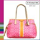 Coach COACH Womens Tote Bags F29064 pink x Orange signature stripe PVC DrawString carryall [regular] ★ ★