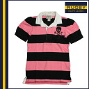 Rugby Ralph Lauren RUGBY RALPH LAUREN short sleeve Rugby black × pink cotton women's tops BUTTON DOWN SHIRT