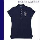 Ralph Lauren RALPH LAUREN short sleeve polo shirt Navy cotton ladies tops POLO SHIRT