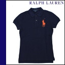Ralph Lauren RALPH LAUREN short sleeves polo shirt navy cotton Lady's tops POLO SHIRT