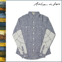 Shock price ★ point 10 times artisan deluxe Artisan de Luxe button-down shirt [The Woker Shirts #MA-3700361Z] railroad linen men tops shirt stripe blue TOPS STRIPE LINEN RAILROAD [regular]