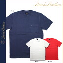 Brooks Brothers BROOKS BROTHERS short sleeved T shirt [Navy white red] 16089 Pocket cotton men's [regular]