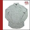 Double Aurel RRL DOUBLE RL Ralph Lauren long sleeve button shirt with [light blue x ivory] 7959783 RWW stripe cotton men's [regular]