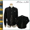 Artisan luxury ARTISAN DE LUXE long sleeve button shirt with [Black / Brown] AMS197F62 MICHEL STRIPE SHIRT cotton men's [regular]