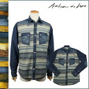 Artisan deluxe ARTISAN DE LUXE long sleeves denim shirt [indigo] AMS190F72 BOLDER PLAID SHIRT denim cotton men [regular]