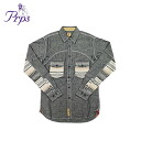 Point 2 x cotton men's BLK E61S19B Pierre rupees PRPS long sleeve button shirt with [Gray] [regular]
