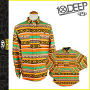 10 DEEP deep transcontinetal long sleeve button shirt with [multi] 24td2017 CUZCO BUTTONDOWN cotton mens 10. deep [genuine]