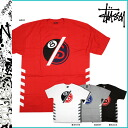 Stussy STUSSY short sleeve T shirt 8 Ball Link Tee cotton mens red white grey black