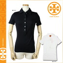 Tory Burch TORY BURCH short sleeve polo shirt 28122191 CLASSIC POLO W GOLD HARDWARE cotton Womens BLACK WHITE トリバーチ TORYBURCH