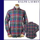 1036419 Ralph Lauren RALPH LAUREN long sleeves button-down shirt [red X green X blue] LONG SLEEVE CUSTOM BUTTON downed cotton men [regular] 02P31Aug14