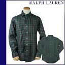 Point 2 x Ralph Lauren RALPH LAUREN long-sleeved button-down shirt [Green x Red] BUTTON DOWN cotton men's 1036439 LONG SLEEVE CUSTOM [regular]
