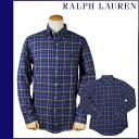 1036418 Ralph Lauren RALPH LAUREN long sleeves button-down shirt [blue X navy] LONG SLEEVE CUSTOM BUTTON downed cotton men [regular] 02P31Aug14
