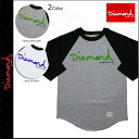 2013 [SOLD OUT] diamond supply Diamond Supply Co three-quarter sleeves T-shirt [2 colors] OG SCRIPT RAGLAN MADE USA cotton men new works [regular]