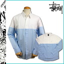 Point 2 x Stussy STUSSY long sleeved button shirt with [White x Blue] STUSSY 2 TONE SHIRT L SL cotton men's new [regular]