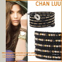 Ladies ' men's leather hand made BS-2358 BLACK チャンルー CHAN LUU bracelet [Black] [regular]