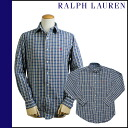 Ralph Lauren RALPH LAUREN long sleeve button shirt [blue x Red] SHIRT flannel shirt check men's [regular]