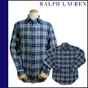 Ralph Lauren RALPH LAUREN long sleeve button shirt [blue / yellow] SHIRT flannel shirt check men's [regular]