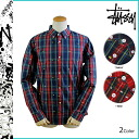 Point 10 x Stussy STUSSY long sleeved button shirt [Red Navy] 111691 SHIRT check men's [regular] 10P01Feb14