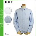 Point 2 x HUF Hough button shirt with 2 color CRESTED l/s OXFORD SHIRT men's [regular]