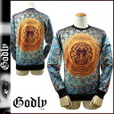 Godlee Godly New York sweat shirt trainer [a black X multi-] CEILING SWEATER men [6/2 Shinnyu load] [regular]