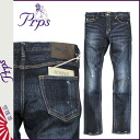Point 10 x Pierre rupees PRPS jeans denim pants mens ultra skinny damage wash machined 2014, new dark blue RUBY GREMLIN [regular]