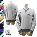 Point 10 x jampress J.PRESS trainer Sweatshirt men's 2014 new grey VINTAGE REVERSE SWEAT SHIRT [regular]