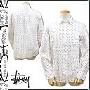 Point 2 x Stussy STUSSY long sleeve button shirt with men's 2014, new white HUSTLER L/SL SHIRT [10 / 3 new in stock] [regular] 02P01Nov14