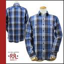 Double Aurel RRL DOUBLE RL flannel shirt check shirt men's casual button shirt with blue l/s BUTTON SHIRTS [regular] ★ ★