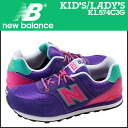 New Balance new balance kids Lady's KL574C3G sneakers M Wise suede X mesh suede cloth purple [2/15 Shinnyu load] [regular]★★