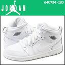 Point 5 x Nike NIKE kids AIR JORDAN 1 MID BP sneakers Air Jordan 1 mid boys preschool leather junior children PRE SCHOOL Air Jordan 640734-120 white [8 / 8 back in stock] [regular]