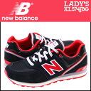 New balance new balance women's KL574JBG sneaker M wise suede / mesh kids ' Junior kids black x Red [10 / 9 new stock] [regular]