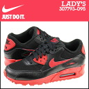 Point 2 x Nike NIKE women's AIR MAX 90 2007 GS sneakers Air Max 90 2007-kids GIRLS 307793-095 BLK/GYM RED leather kids ' junior girls [11 / 14 new stock] [regular] 02P30Nov14