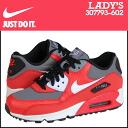 Nike NIKE women's AIR MAX 90 GS sneakers Air Max 90 girls leather / mesh kids ' Junior kids GIRLS Air Max 307793-602 UNIVERSITY RED Red [8 / 14 new stock] [regular] ★ ★