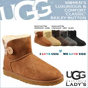 ★ ★ UGG UGG mini Bailey button Sheepskin boots 3352 WOMENS MINI BAILEY BUTTON Sheepskin women 52% off!