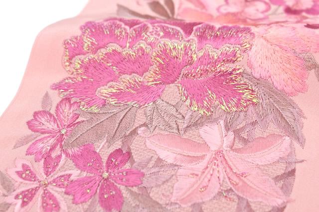 半衿 サーモンピンク 祝華文刺繍 日本製 シルドール大柄刺繍衿