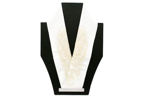 刺繍半襟 白 金 牡丹 正絹 日本製 結婚式 着物 刺繍半衿