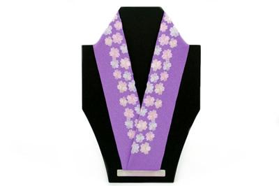 紫,桜,刺繍,半襟,半衿,はんえり,振袖,袴,訪問着,着物