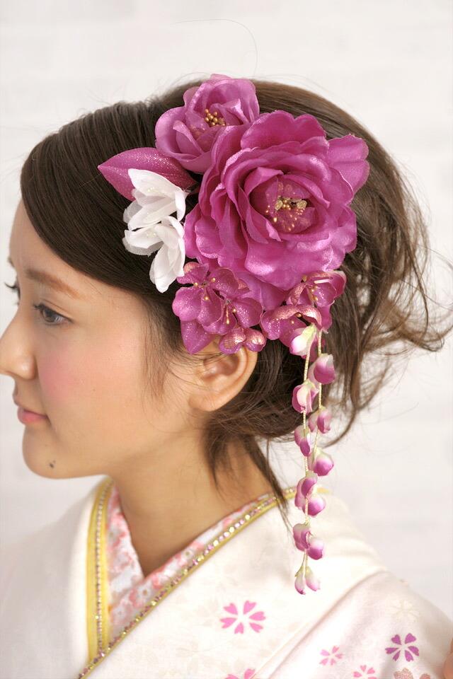 ぷっくり花びらが可愛いヘアアクセ2点セット
