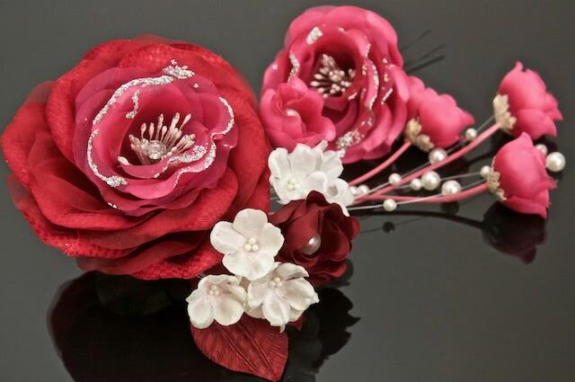 お花のブラがかわいい髪飾り2点セット