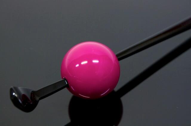 ピンク系,着物スタイルに,玉簪(かんざし)