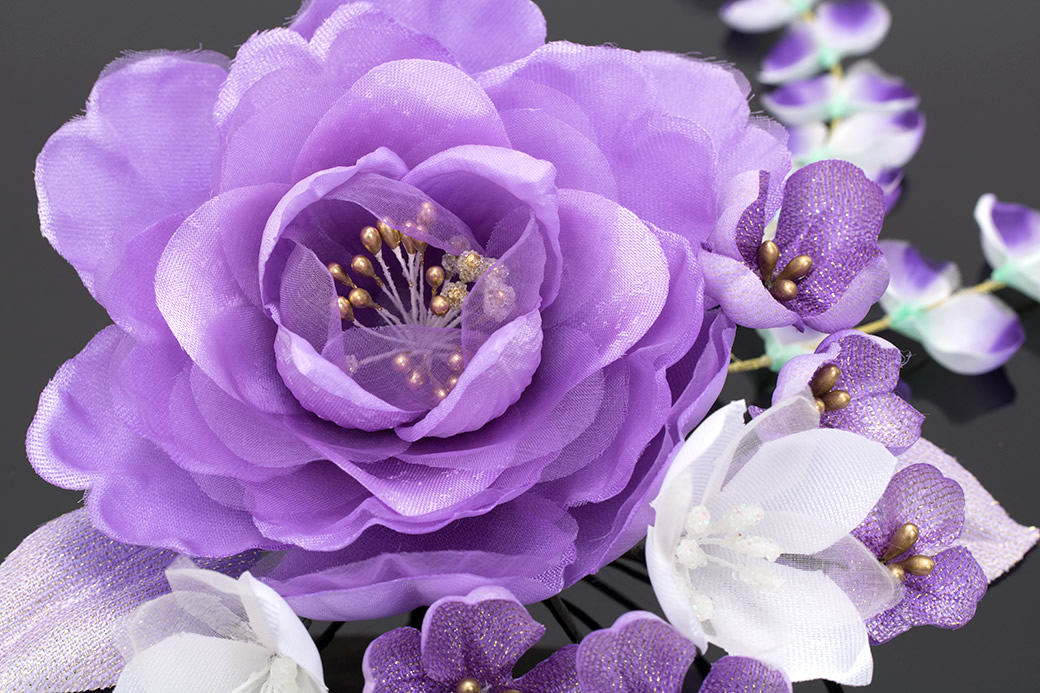 紫,着物スタイルにおすすめ,髪飾りセット