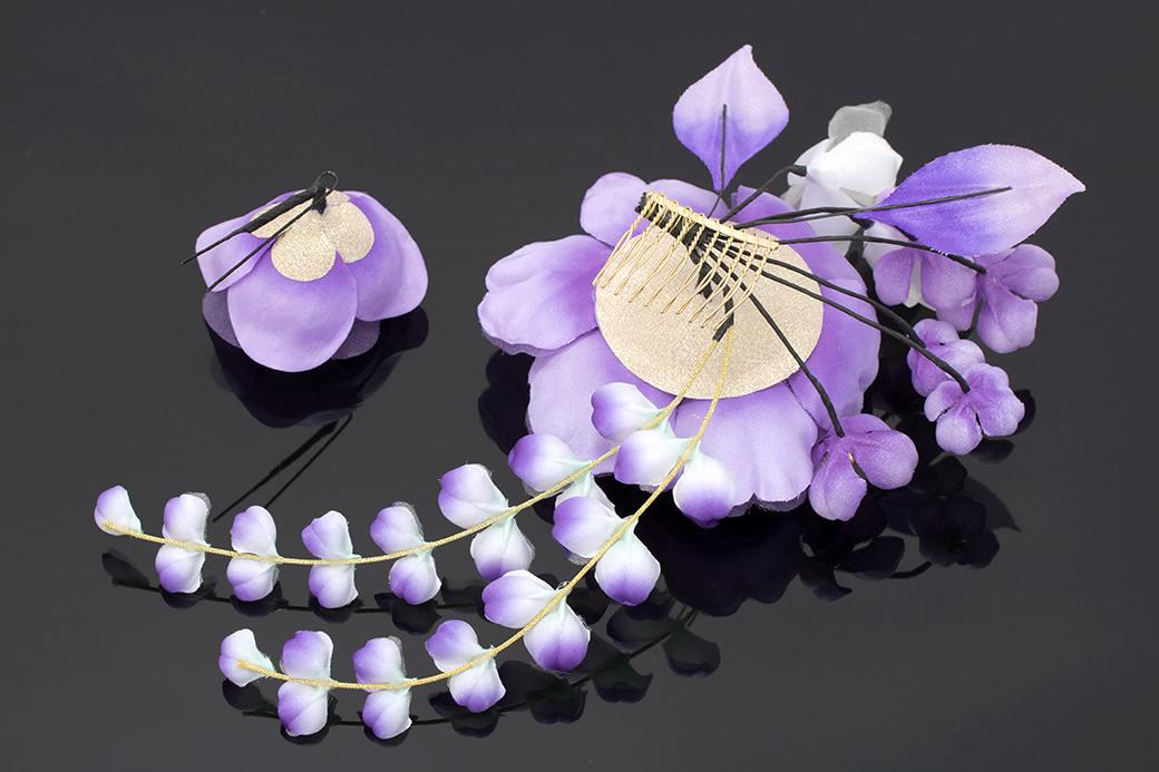 紫,着物スタイルにおすすめ,髪飾りセット4