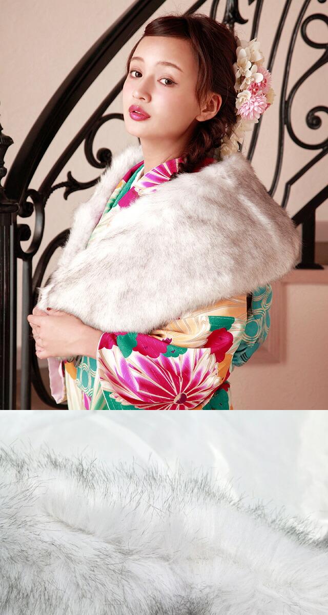 ふわふわフェイクファーのショール(モデル:神尾美沙ちゃん)